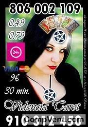 Especialistas en Tarot y Videncia 910 31 24 50 VISA desde 4 € 15 min. 7€ 25 min. 9€ 35min