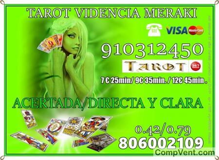 TAROT VISA MERAKI 9 EUR 35MIN/7EUR 25 MIN 910312450 LAS 24 HORAS TAROT BARATO TODA ESPAÑA